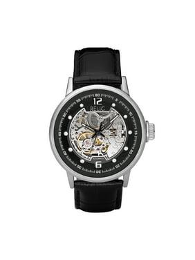 "Men's ""Automatic"" Black Leather Strap Watch"