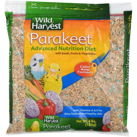 Wild Harvest Advanced Nutrition Diet for Parakeets, 4 (Bird Food 4lb Bag)