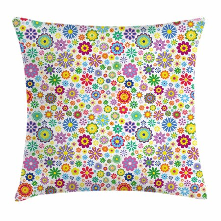 Floral Throw Pillow Cushion Cover, Cute Flowers Peace Hippie Style Flourishing Blooms Petals Beauty Cheerful Season, Decorative Square Accent Pillow Case, 16 X 16 Inches, Multicolor, by Ambesonne