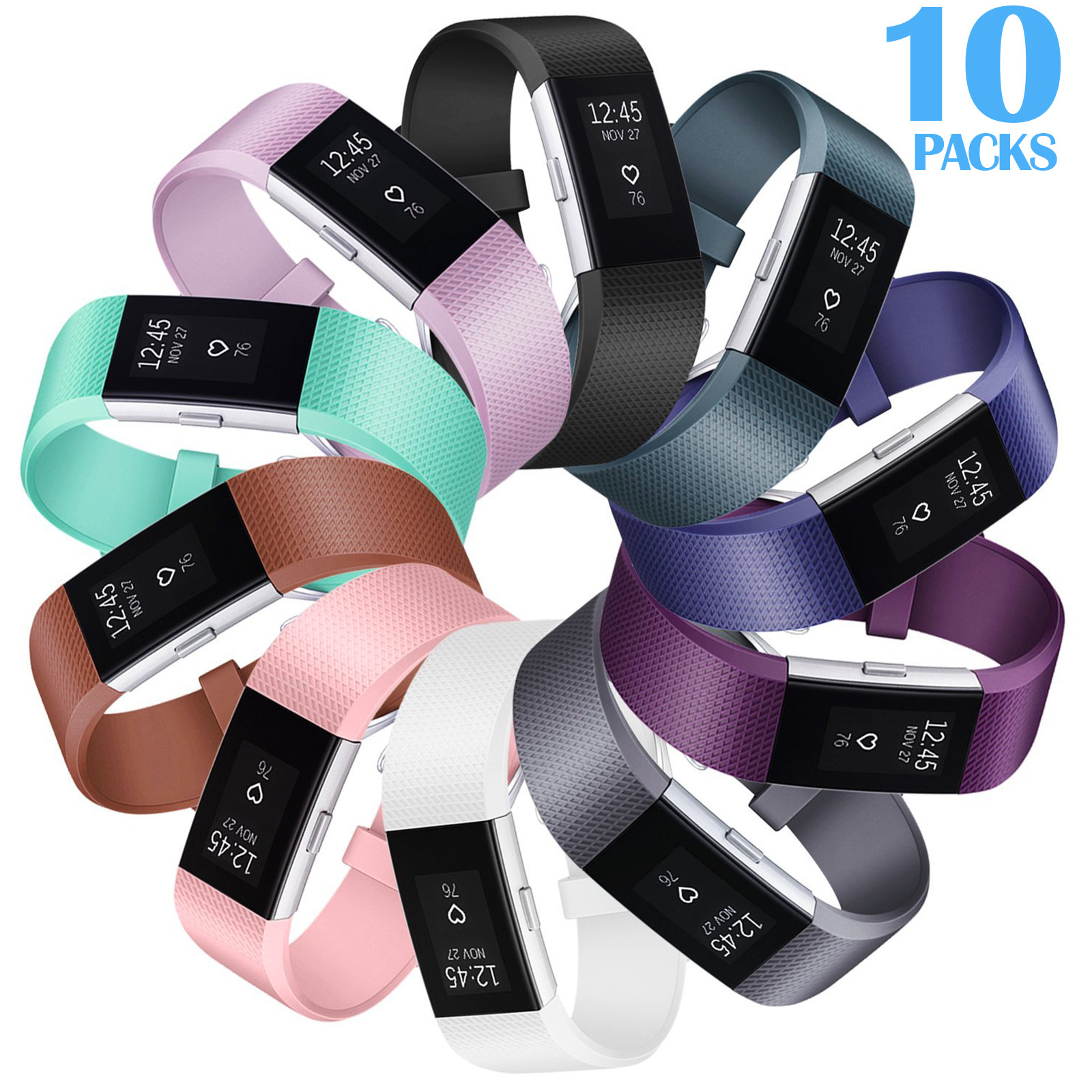 10Packs Silicone Bands for Fitbit Charge 2, Small Size Soft Silicone Wrist Strap for Fitbit Charge 2 by