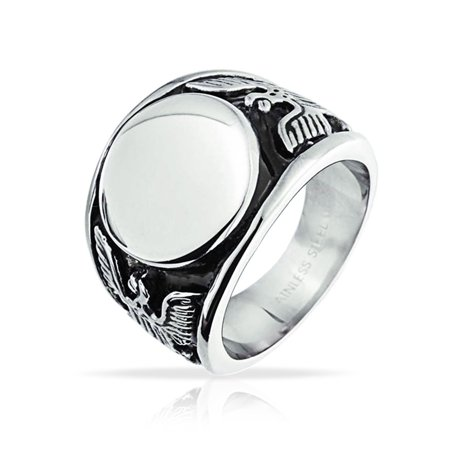 Silver Onyx Eagle Man Ring - Mens Patriotic USA American Bald Eagle Monogram Signet Ring For Men Oxidized Silver Tone Stainless Steel