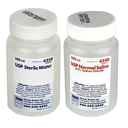 Sterile Irrigation Water and 0.9% Sodium Chloride Saline 100ml Combo (Sodium Dichloro S Triazinetrione Dihydrate Drinking Water)
