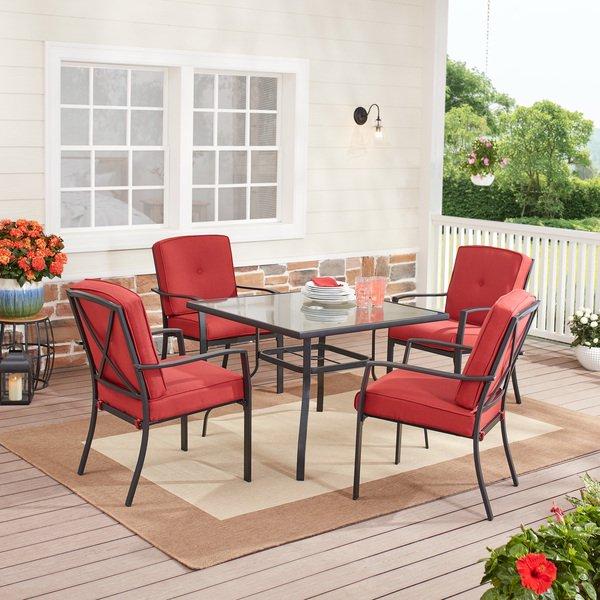 Mainstays Forest Hills 5 Piece Patio, Red Patio Table Set