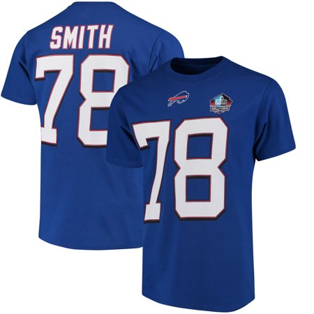 Bruce Smith Buffalo Bills - Bruce Smith Buffalo Bills Majestic Hall of Fame Eligible Receiver III Name & Number T-Shirt - Royal