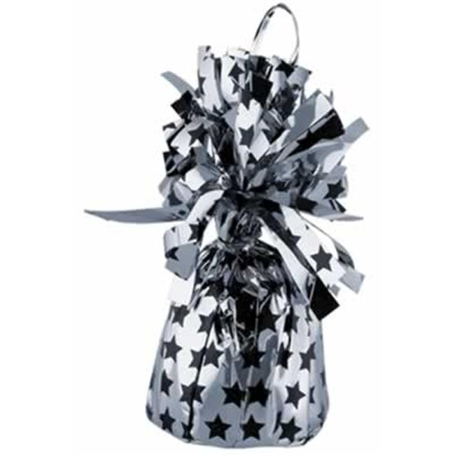Beistle 50926BKS Stars Printed Balloon Weights - Silver- Pack of 12