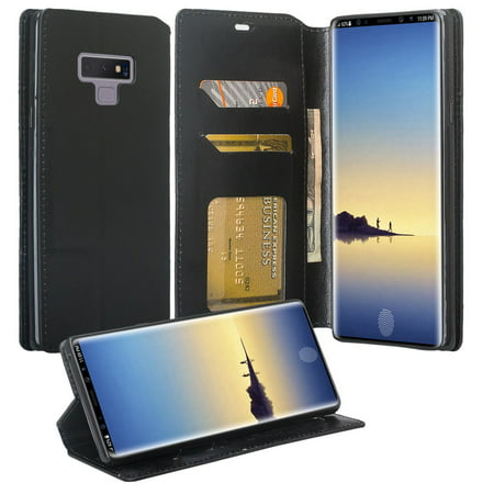various colors 33ae0 ff31b Galaxy Note 9 Case, Note 9 Wallet Case, Samsung Galaxy Note 9 PU Leather  Case,Cash Credit Card Slots Holder Carrying Flip Cover & Kickstand - Black