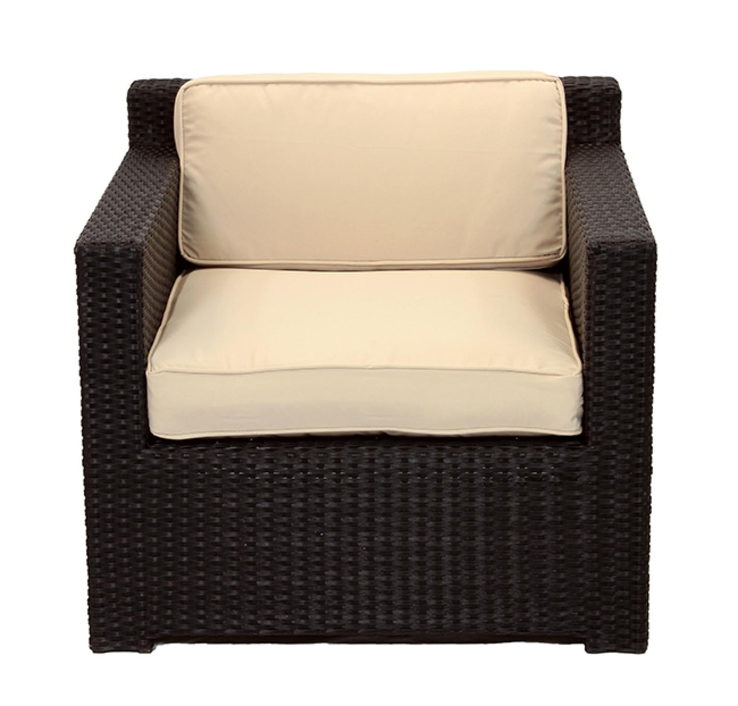 3 Piece Black Resin Wicker Outdoor Patio Furniture Set Beige