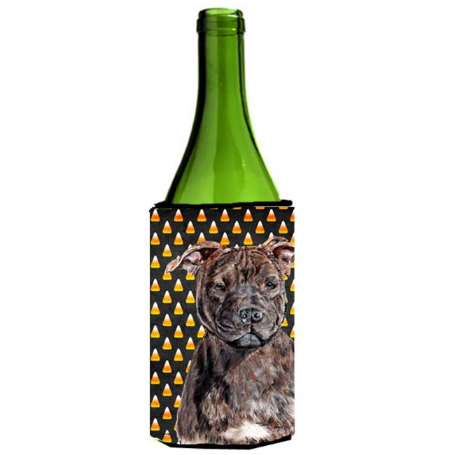 Carolines Treasures SC9657LITERK Staffordshire Bull Terrier Staffie Candy Corn Halloween Wine bottle sleeve Hugger  24 Oz. - image 1 de 1