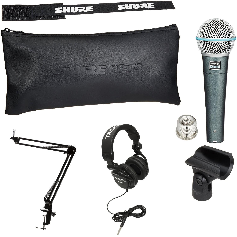 Shure BETA58A Dynamic Microphone w/ Knox Boom Arm Stand & Headphones