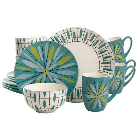 Luminescent Anza 16-Piece Dinnerware Set, Teal - Teal Dinnerware