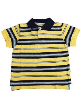 E-Land - Little Boys Short Sleeved Polo Shirt Yellow Stripe / 2T