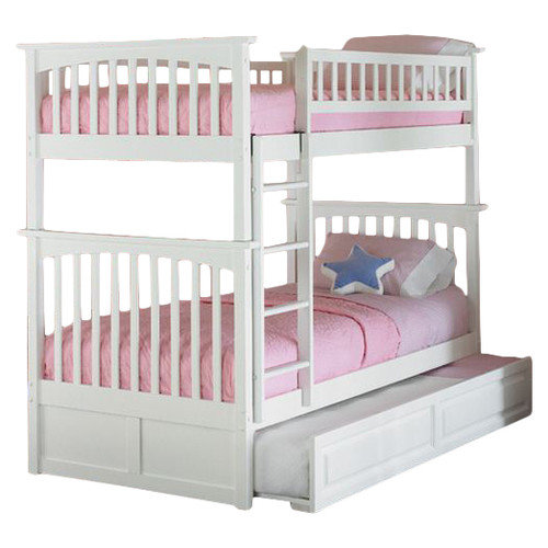 Columbia Bunk with Trundle-Color:White,Size:Twin/Twin