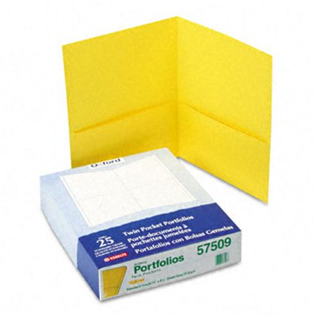 Esselte Pendaflex 57509 Twin-Pocket Portfolio  Embossed Leather Grain Paper  Yellow