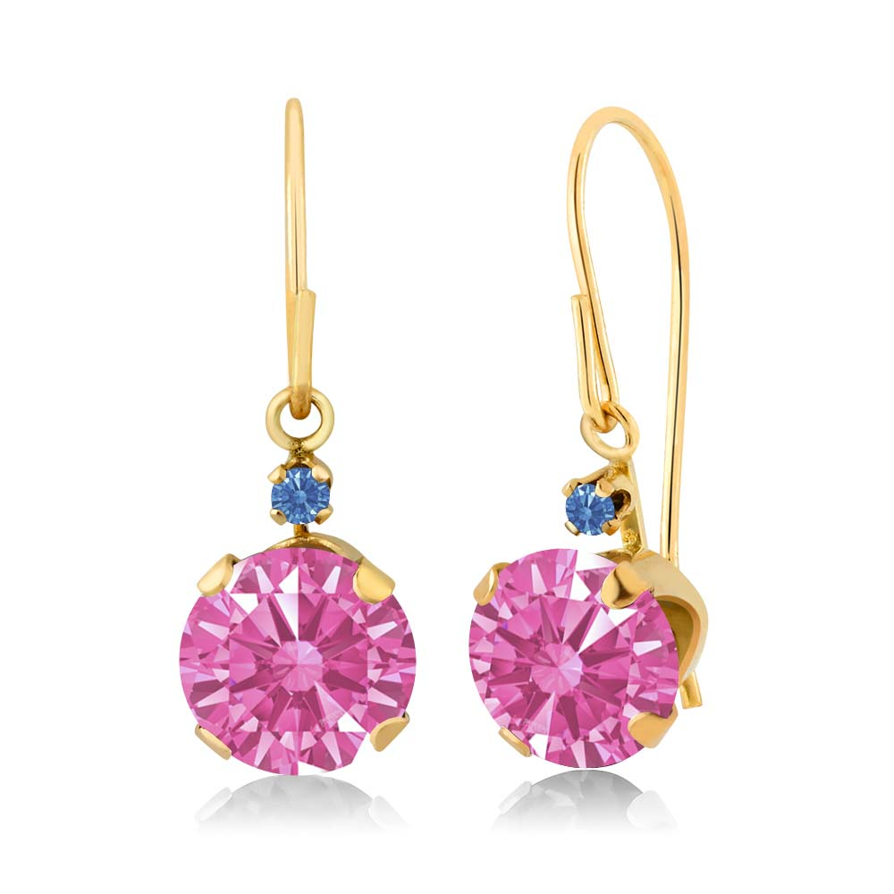 1.71 Ct Pink 14k Yellow Gold Earrings Made With Swarovski Zirconia
