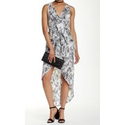 ASTR NEW Black Women's Size Large L Printed Pleated Surplice Dress $78