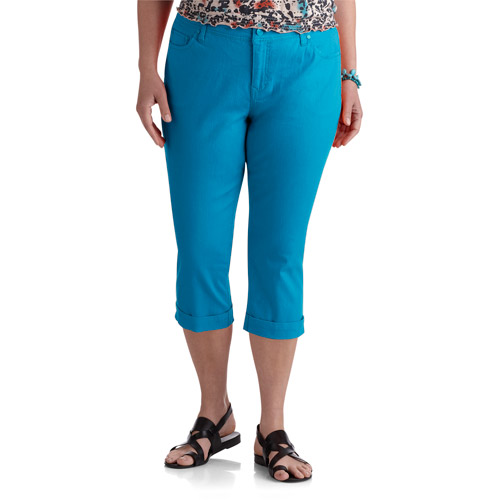 Faded Glory Women's Plus-Size Roll Cuff Denim Capri Pants