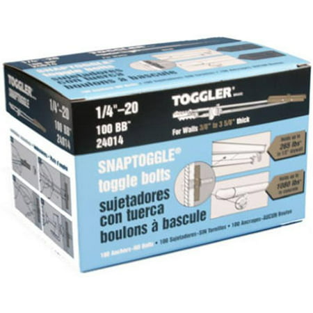 Toggler 1/4 x 20 in. Snaptoggle Toggle Bolts, Hollow Wall