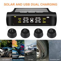 EEEkit Solar USB Power Tire Pressure Monitoring System Wireless  Waterproof TPMS with 4 External Sensors Alert Real Time Pressure & Temperature Ensure Safe Driving