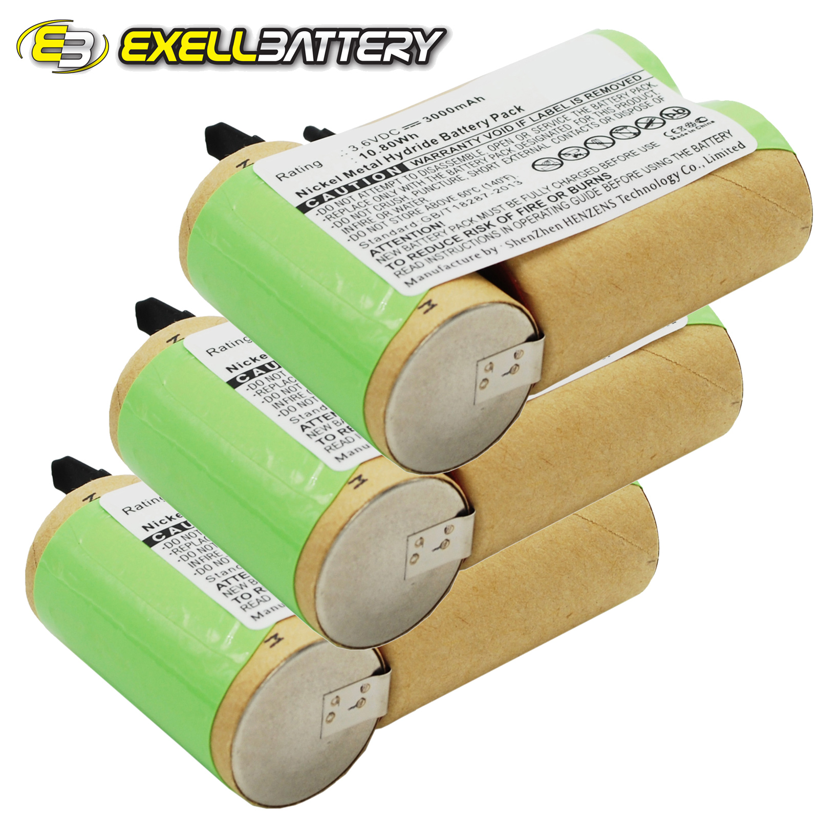 3x 3.6V Battery Fits BLACK & DECKER V3610 Rechargeable Po...