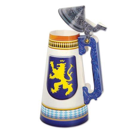 Club Pack of 12 Blue, White and Gold Beer Stein Centerpiece 11.75