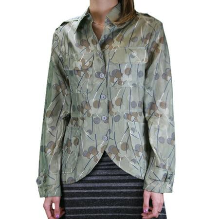 Lined Silk Blazer - CUSTO BARCELONA Womens Soldier Silk Polka Dot Blazer Jacket 492214