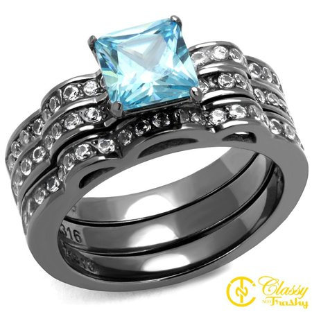 Classy Not Trashy® Stacked Design Blue Princess Cut Cubic Zirconia Stainless Steel Women's Ring Size 8