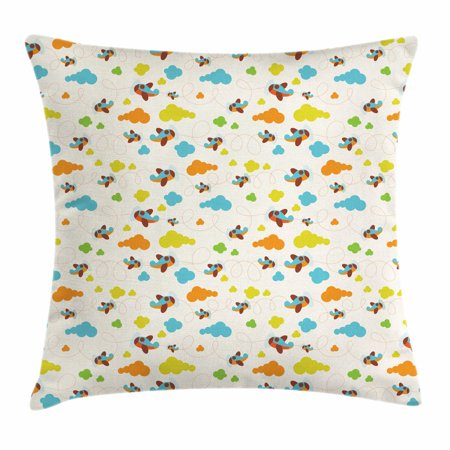- Nursery Airplane Throw Pillow Cushion Cover, Cheerful Toddler Pattern of Pastel Fluffy Clouds Aircraft and Dashed Lines, Decorative Square Accent Pillow Case, 16 X 16 Inches, Multicolor, by Ambesonne