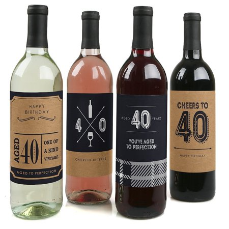 40th Milestone Birthday - Party Decorations for Women and Men - Wine Bottle Label Stickers - Set of 4