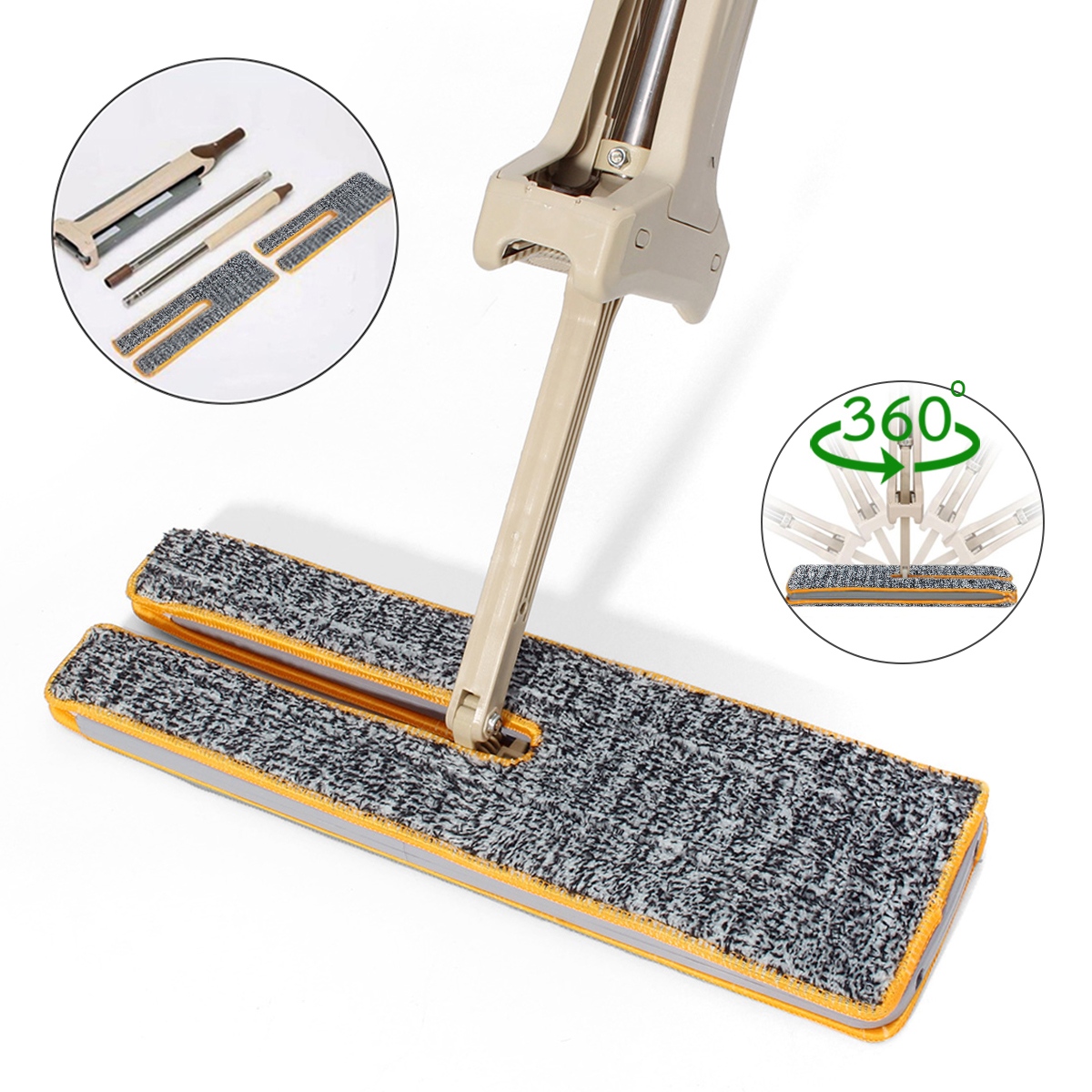 Lazy Floor Mop Cloth Double Side Washable 360° Degree Rotation Home Cleaning Tool