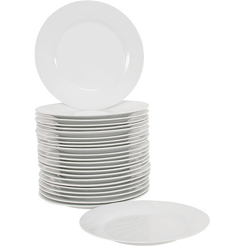 "10 Strawberry Street 10.5"" Round Dinner Plates, White, Set of 24"