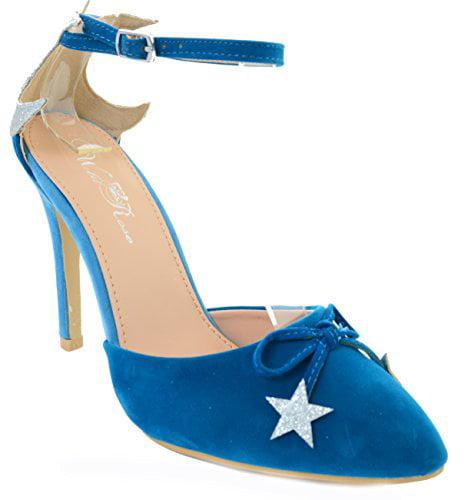 Velvet Glitter Star Pointy Toe Stiletto Women Heels Blue Red or Black