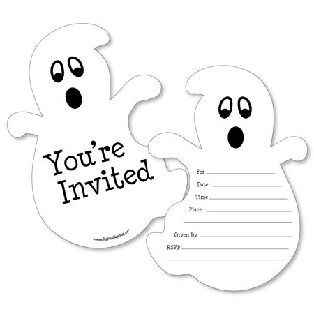 Spooky Ghost - Shaped Fill-in Invitations - Halloween Party Invitation Cards with Envelopes - Set of - Scary Halloween Invitations Ideas