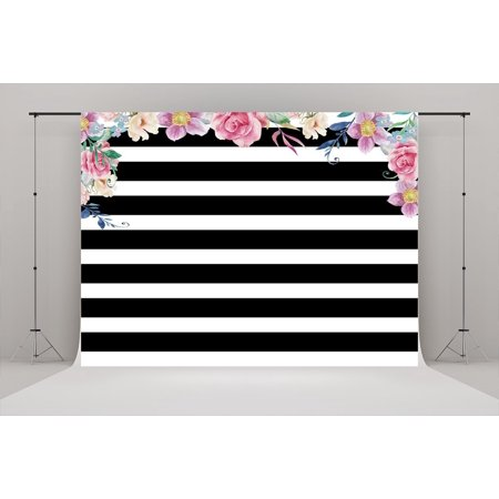 HelloDecor Polyster 7x5ft Black and White Stripes Backdrop Flowers Birthday for Parties Photography Backgrounds Photo Booth Props