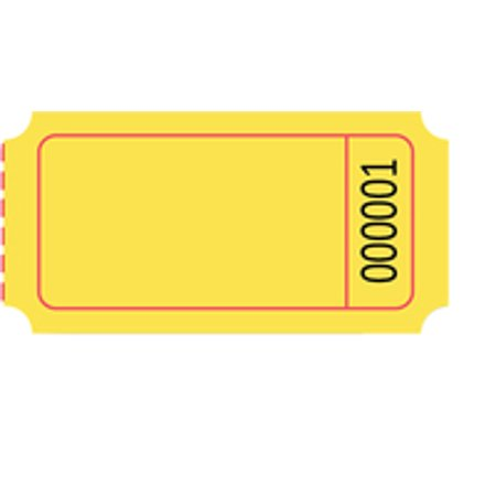 Horizontal Ticket (School Specialty Single Roll Blank Tickets, 1 x 2 Inches, Yellow, Pack of)