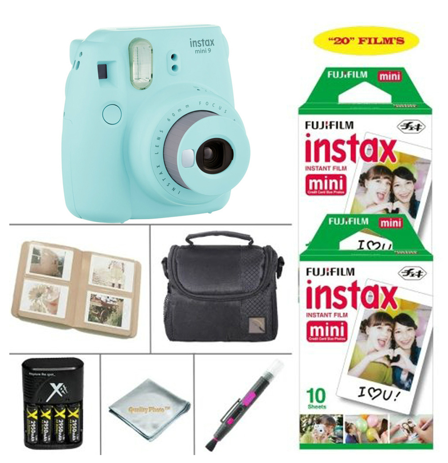 Fujifilm Instax Mini 9 Ice Blue Camera + Accessory kit for Fujifilm Instant Camera, includes Fuji Instax Film 20 Sheets + 4 Battery & Charger + Photo Album + Instax Case + MORE