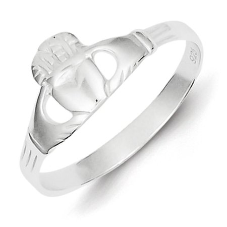 Ladies 925 Sterling Silver Polished Irish Claddagh Ring Band Size 6