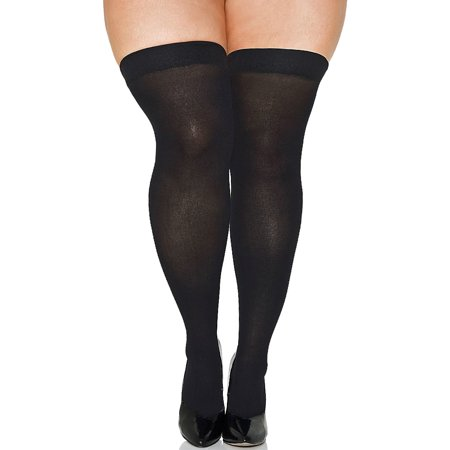 Lacy Line Plus Size Opaque Thigh High Stockings