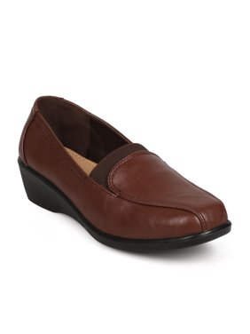 Refresh DH16 Women Leatherette Square Toe Elastic Wedge Loafer Clog