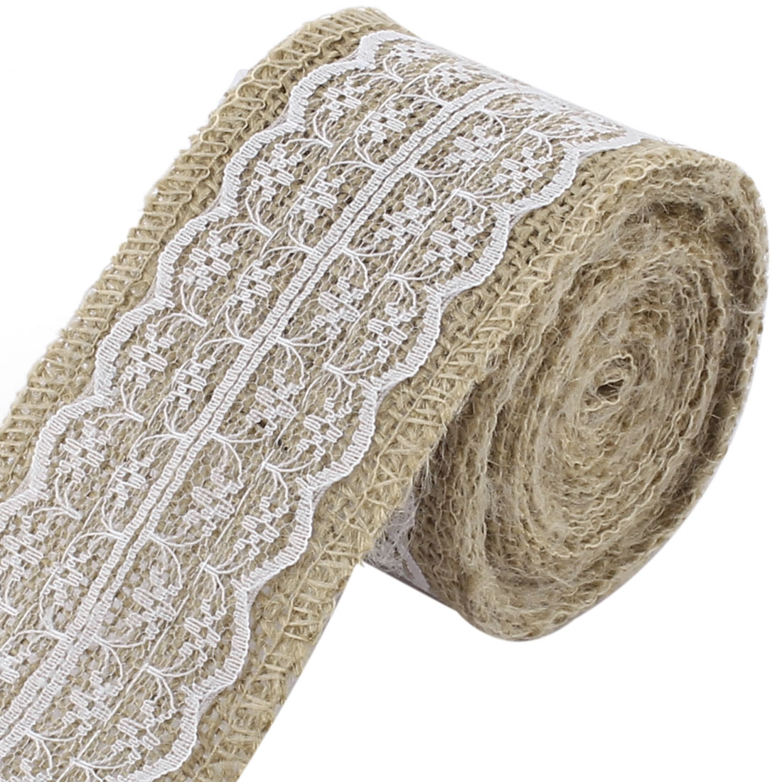 Unique Bargains Christmas Burlap DIY Gift Wrapping Packing Ornament Craft Ribbon Roll Tape White