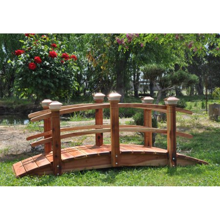 Foot Span Bridge - Redwood 6 ft. Curved Rail Garden Bridge