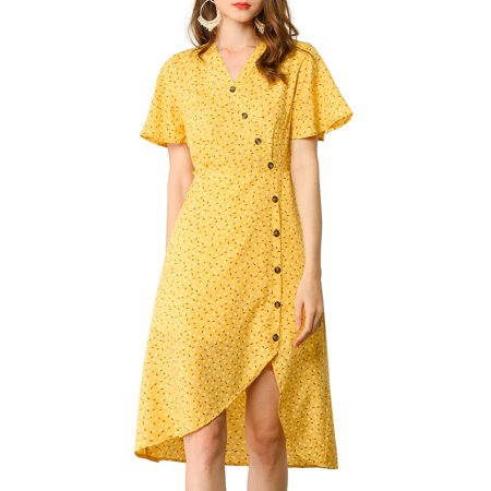 Allegra K Women's Casual Short Sleeve V Neck Asymmetrical High Low Floral Midi Dress XL Yellow