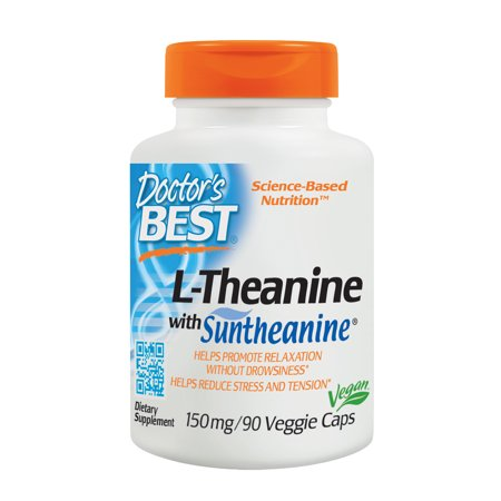 Doctor's Best L-Theanine with Suntheanine , Non-GMO, Gluten Free, Vegan, Helps Reduce Stress and Sleep, 150 mg 90 Veggie (Best Otc For Sleep)