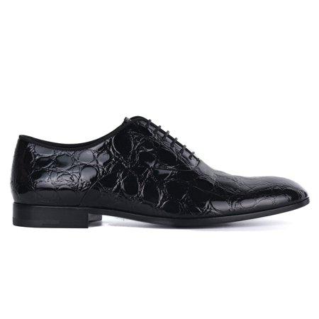 Croc Leather (Giorgio  Armani Mens Black Croc Embossed Patent Leather Derbys)