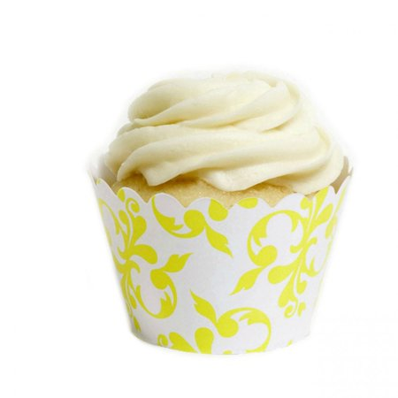 Yellow Cupcake Wrappers (Dress My Cupcake Yellow Filigree Cupcake Wrappers, Set of)