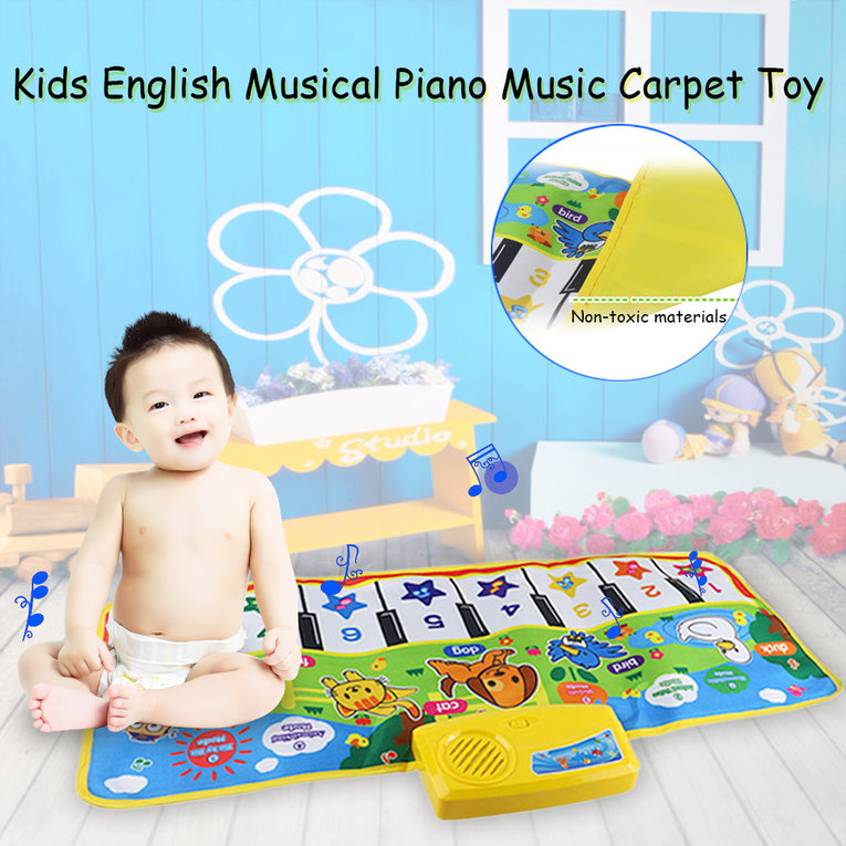 Kids English Musical Piano Music Carpet Play Mat Educational Electronic Toy by konxa