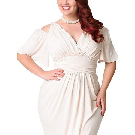 Women V Neck Cold Shoulder Plus Size Evening Cocktail Party Bodycon Corset Dress