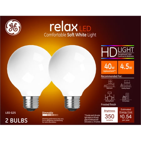 GE LED 4.5W HD Relax Soft White G25 Globe Frosted Finish, Medium Base, Dimmable, 2pk Light Bulbs