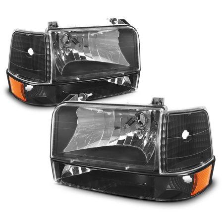 Ford Bronco Headlamp Headlight - Fit 1992-1996 Ford Bronco F150 F250 F350 Corner Bumper Head Lights