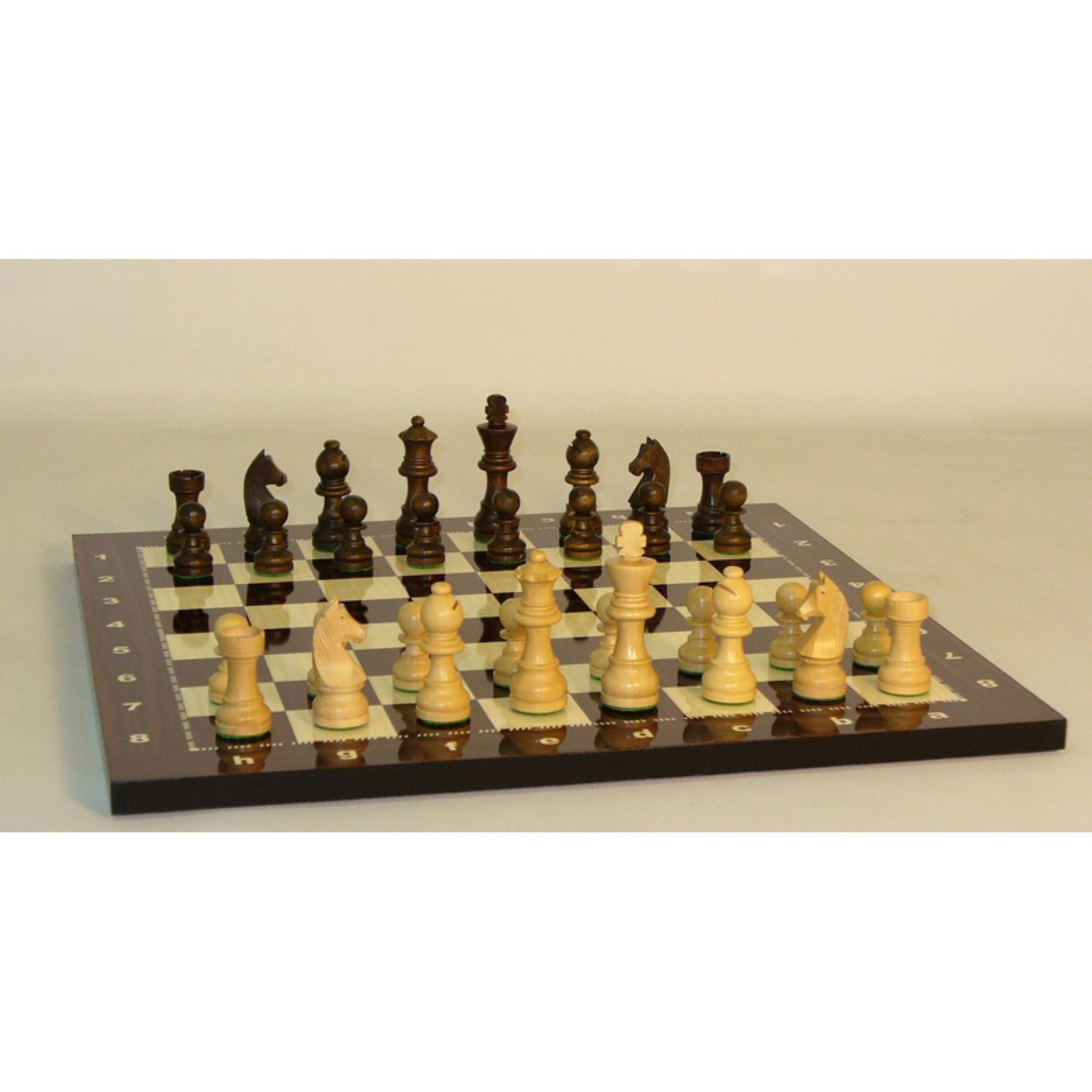 German Knight Chess Set on Alpha Numeric Decoupage Board