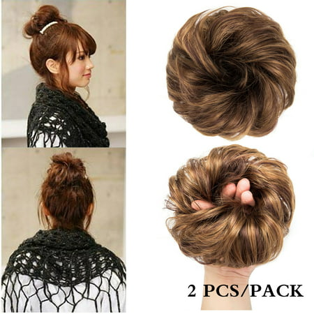 Buy Ponytail Wigs (2pcs Hair Bun Updo Hairpiece Wavy Curly Messy Donut Chignons Hair Piece Wig Hairpiece Scrunchie Bun Up Do   Ponytail)